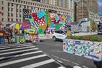NOVA YORK, USA, 03.08.2018 - GRAFITE-NOVA YORK - Grafites coloridos sao vistos na regiao do completo World Trade Center em Nova York nesta sexta-feira, 03. (Foto: Vanessa Carvalho/Brazil Photo Press)