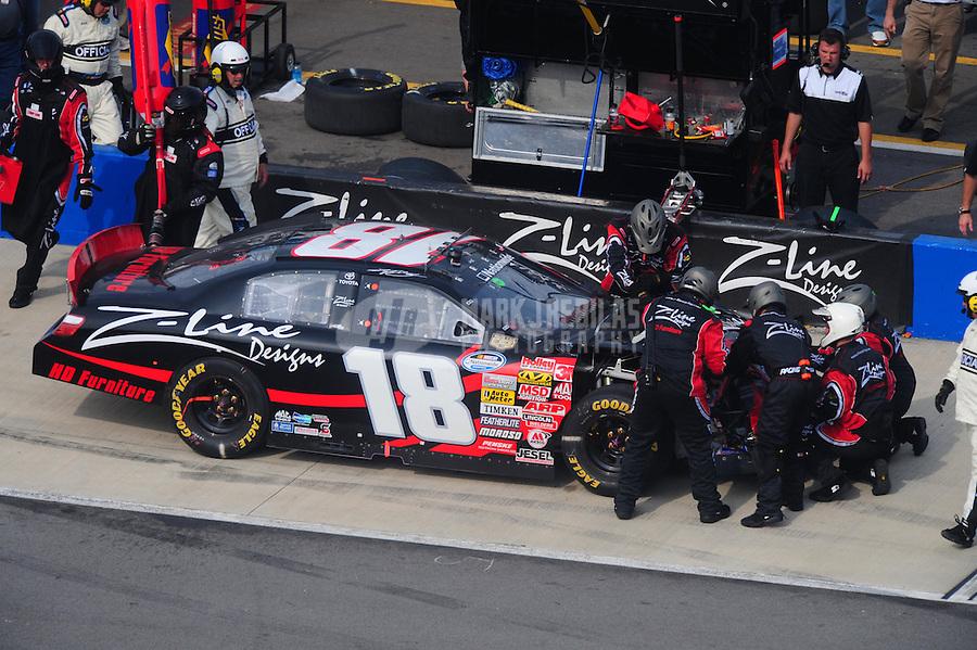 Apr 26, 2008; Talladega, AL, USA; NASCAR Nationwide Series driver Kyle Busch pits to repair damage during the Aarons 312 at the Talladega Superspeedway. Mandatory Credit: Mark J. Rebilas-