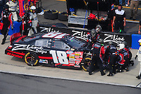 Apr 26, 2008; Talladega, AL, USA; NASCAR Nationwide Series driver Kyle Busch pits to repair damage during the Aarons 312 at the Talladega Superspeedway. Mandatory Credit: Mark J. Rebilas-