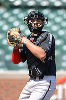 Catcher Alex Jackson (10) of Rancho Bernardo High School in Escondido, California during warmups before the Under Armour All-American Game on August 24, 2013 at Wrigley Field in Chicago, Illinois.  (Mike Janes/Four Seam Images)