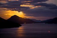 Looking toward Grove Arm in Marlborough Sounds during sunset - Marlborough, New Zealand