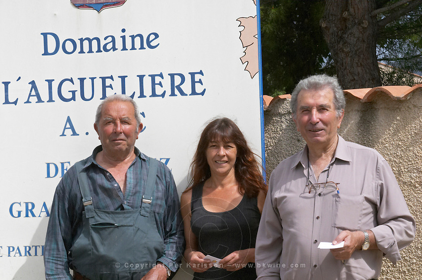 Auguste Commeyras, right, his brother Aime Commeyras, left, with Aime's daughter Christine Domaine l'Aigueliere. Montpeyroux. Languedoc. Owner winemaker. France. Europe.