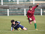EEjob 04/03/2015 Sport<br /> Colaiste Stiffen Naofa Jack Inglish &amp; NUI Galway Keeper Evan Boyce in Action during there the CUFL Final in Limerick.<br /> Picture  Credit Brian Gavin Press 22