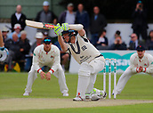 June 11th 2017, Trafalgar Road Ground, Southport, England; Specsavers County Championship Division One; Day Three; Lancashire versus Middlesex; Sam Robson of Middlesex at the crease hits down the wicket