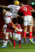 Josh MaGennis scores Charlton's first goal with a fine header during Charlton Athletic vs Bradford City, Sky Bet EFL League 1 Football at The Valley on 13th February 2018