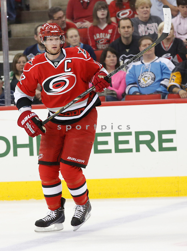 Carolina Hurricanes Eric Staal (12) during a game against the Pittsburgh Penguins on April 9, 2013 at PNC Arena in Charlotte, NC. The Penguins beat the Hurricanes 5-3.