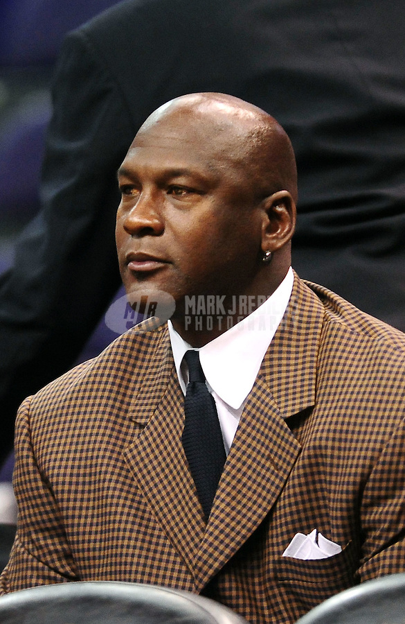 Jan. 26, 2011; Phoenix, AZ, USA; Charlotte Bobcats owner Michael Jordan in attendance against the Phoenix Suns at the US Airways Center. The Bobcats defeated the Suns 114-107. Mandatory Credit: Mark J. Rebilas-