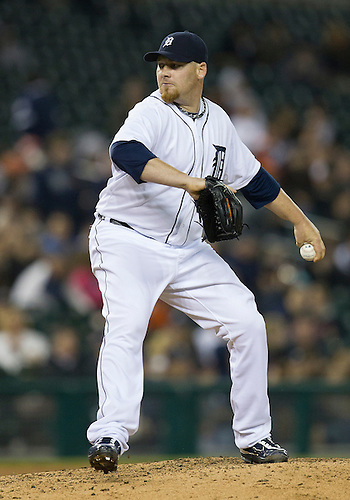 May 01, 2012:  Detroit Tigers pitcher Phil Coke (40) delivers pitch during MLB game action between the Kansas City Royals and the Detroit Tigers at Comerica Park in Detroit, Michigan.  The Tigers defeated the Royals 9-3.