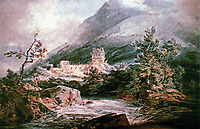 J.W. M. Turner watercolor, 1792. Llanthony Abbey,  Monmouthshire, Wales. English Romanticist.