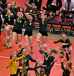 RAPID CITY, SD: NOVEMBER 18:  Players from Northwestern celebrate a point as they close in on a win in the 2017 South Dakota State Class B Volleyball Championship Saturday evening at Barnett Arena in Rapid City, S.D.   (Photo by Dick Carlson/Inertia)