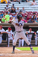 Kane County Cougars shortstop Manny Jefferson (5) during game one of a Midwest League doubleheader against the Wisconsin Timber Rattlers on June 23, 2017 at Fox Cities Stadium in Appleton, Wisconsin.  Kane County defeated Wisconsin 4-3. (Brad Krause/Krause Sports Photography)