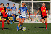 Rochester, NY - Friday June 24, 2016: Boston Breakers forward Brittany Ratcliffe (11), Western New York Flash midfielder McCall Zerboni (7), Western New York Flash defender Abigail Dahlkemper (13) during a regular season National Women's Soccer League (NWSL) match between the Western New York Flash and the Boston Breakers at Rochester Rhinos Stadium.