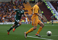 Simon Ramsden being closed down by Toche in the Motherwell v Panathinaikos UEFA Champions League 3rd Qualifying Round 1st Leg match at Fir Park, Motherwell on 31.7.12.