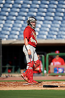 Philadelphia Phillies catcher Mitchell Edwards (19) during a Florida Instructional League game against the New York Yankees on October 12, 2018 at Spectrum Field in Clearwater, Florida.  (Mike Janes/Four Seam Images)