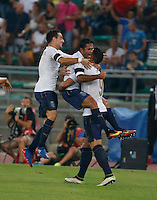 Graziano Pelle shoots and scores during the  friendly  soccer match,between Italy  and  France   at  the San  Nicola   stadium in Bari Italy , September 01, 2016<br /> <br /> amichevole di calcio tra le nazionali di Italia e Francia