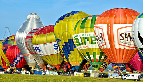 26.07.2015. Chambley Bussieres, France. Hot Air balloon presentation.  Balloons are filled for flight