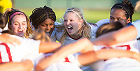 STANFORD, CA - August 30, 2019: Jojo Harber, Madison Haley, Abby Greubel, Sam Hiatt at Maloney Field at Laird Q. Cagan Stadium. The Cardinal defeated the University of Pennsylvania Quakers 5-1.