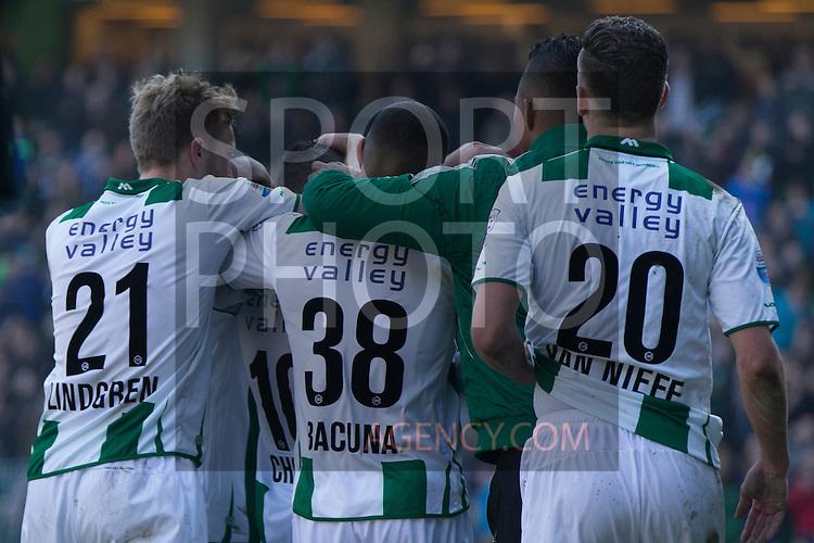 (L-R), Rasmus Lindgren of FC Groningen, Juninho Bacuna of FC Groningen, Tjaronn Chery of FC Groningen, Yoell van Nieff of FC Groningen,