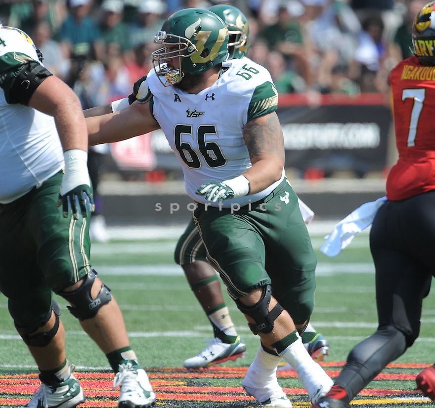 South Florida Bulls Brynjar Gudmundsson (66) during a game against the Maryland Terrapins on September 19, 2015 at Byrd Stadium in College Park, MD. Maryland beat South Florida 35-17.