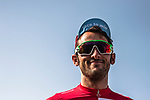 Race leader Nathan Haas (AUS) Team Katusha-Alpecin at sign on before the start of Stage 3 of the 2018 Tour of Oman running 179.5km from German University of Technology to Wadi Dayqah Dam. 15th February 2018.<br /> Picture: ASO/Muscat Municipality/Kare Dehlie Thorstad | Cyclefile<br /> <br /> <br /> All photos usage must carry mandatory copyright credit (&copy; Cyclefile | ASO/Muscat Municipality/Kare Dehlie Thorstad)