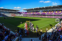 Orlando, FL - Saturday October 14, 2017: North Carolina Courage and Portland Thorns FC walk out during the NWSL Championship match between the North Carolina Courage and the Portland Thorns FC at Orlando City Stadium.