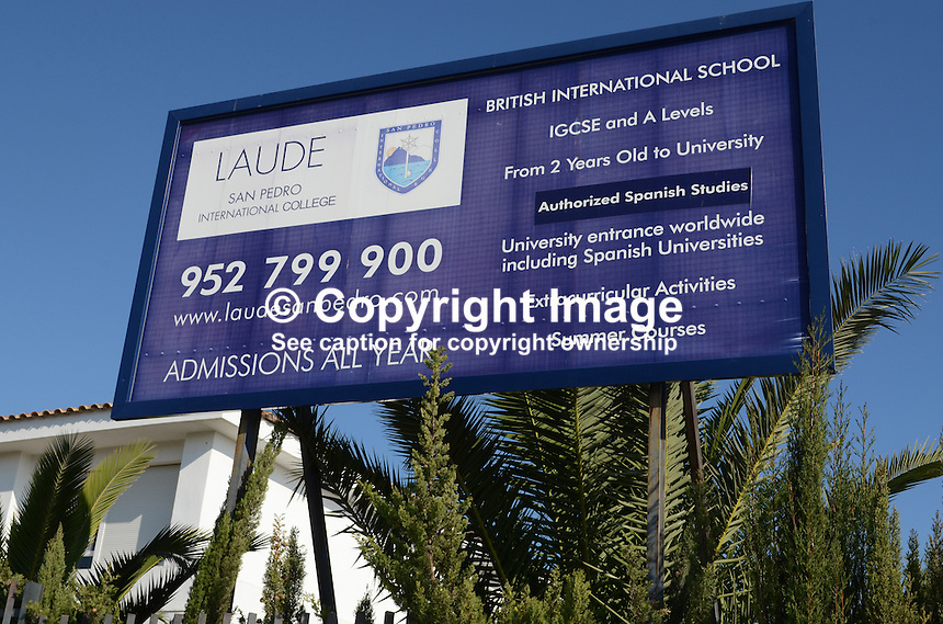 Signage, Laude British International School, San Pedro de Alcantara, Marbella, Costa del Sol, Spain, 201212131088..Copyright Image from Victor Patterson, 54 Dorchester Park, Belfast, UK, BT9 6RJ..Tel: +44 28 9066 1296.Mob: +44 7802 353836.Voicemail +44 20 8816 7153.Skype: victorpattersonbelfast.Email: victorpatterson@me.com.Email: victorpatterson@ireland.com (back-up)..IMPORTANT: If you wish to use this image or any other of my images please go to www.victorpatterson.com and click on the Terms & Conditions. Then contact me by email or phone with the reference number(s) of the image(s) concerned.