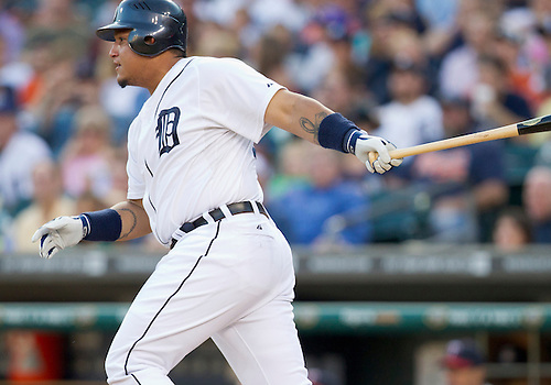 August 15, 2011:  Detroit Tigers first baseman Miguel Cabrera (#24) at bat during MLB game action between the Minnesota Twins and the Detroit Tigers at Comerica Park in Detroit, Michigan.  The Twins defeated the Tigers 9-6.