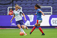 20190813 - ANDERLECHT, BELGIUM : Anderlecht's Tine De Caigny (L) and Linfield's Louise McDaniel (R) pictured during the female soccer game between the Belgian RSCA Ladies – Royal Sporting Club Anderlecht Dames  and the Northern Irish Linfield ladies FC , the third and final game for both teams in the Uefa Womens Champions League Qualifying round in group 8 , Tuesday 13 th August 2019 at the Lotto Park Stadium in Anderlecht  , Belgium  .  PHOTO SPORTPIX.BE | DIRK VUYLSTEKE