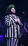 "Sophia Anne Caruso and Alex Brightman during the Broadway Opening Night Performance Curtain Call for ""Beetlejuice"" at The Winter Garden on April 25, 2019 in New York City."