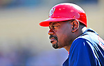 5 March 2009: Washington Nationals' first base coach Marquis Grissom watches play from the dugout during a Spring Training game against the Detroit Tigers at Joker Marchant Stadium in Lakeland, Florida. The Tigers defeated the visiting Nationals 10-2 in the Grapefruit League matchup. Mandatory Photo Credit: Ed Wolfstein Photo