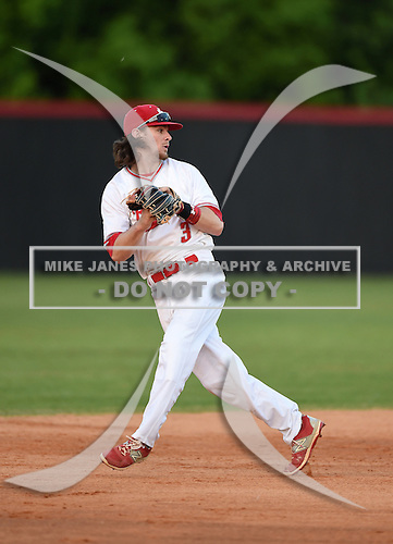 Lake Mary Rams shortstop Brendan Rodgers (3) throws to second to double off the runner after catching a line drive during a game against the Lake Brantley Patriots on April 2, 2015 at Allen Tuttle Field in Lake Mary, Florida.  Lake Brantley defeated Lake Mary 10-5.  (Mike Janes Photography)