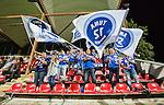 Solna 2015-08-31 Fotboll Damallsvenskan AIK - Eskilstuna United :  <br /> Eskilstunas supportrar med flaggor under matchen mellan AIK och Eskilstuna United <br /> (Foto: Kenta J&ouml;nsson) Nyckelord:  Damallsvenskan Allsvenskan Dam Damer Damfotboll Skytteholm Skytteholms IP AIK Gnaget Eskilstuna United supporter fans publik supporters