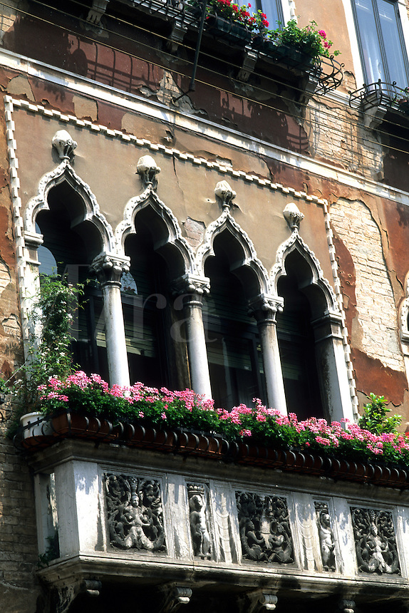 Classic colorful architecture from water in canals in picturesque Venice Ital