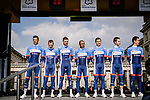 Total Direct Energie in their new kit at the team presentations in Compiegne before Paris-Roubaix 2019, Compuiegne, France. 13th April 2019<br /> Picture: ASO/Pauline Ballet | Cyclefile<br /> All photos usage must carry mandatory copyright credit (&copy; Cyclefile | ASO/Pauline Ballet)