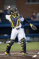Michigan Wolverines catcher Jordon Rogers (18) during the NCAA baseball game against the Eastern Michigan Eagles on May 8, 2019 at Ray Fisher Stadium in Ann Arbor, Michigan. Michigan defeated Eastern Michigan 10-1. (Andrew Woolley/Four Seam Images)