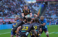 Adam Thomson takes lineout ball during the Super Rugby Aotearoa match between the Blues and Chiefs at Eden Park in Auckland, New Zealand on Sunday, 26 July 2020. Photo: Dave Lintott / lintottphoto.co.nz