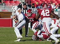 NWA Democrat-Gazette/BEN GOFF @NWABENGOFF<br /> Bumper Pool, Arkansas linebacker, tackles Tommy Stevens, Mississippi State quarterback, in the first quarter Saturday, Nov. 2, 2019, at Reynolds Razorback Stadium in Fayetteville.
