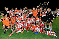 20130809 Copyright onEdition 2013 ©<br /> Free for editorial use image, please credit: onEdition.<br /> <br /> Gloucester Rugby 7s celebrate winning the finals of the J.P. Morgan Asset Management Premiership Rugby 7s Series.<br /> <br /> The J.P. Morgan Asset Management Premiership Rugby 7s Series kicked off for the fourth season on Thursday 1st August with Pool A at Kingsholm, Gloucester with Pool B being played at Franklin's Gardens, Northampton on Friday 2nd August, Pool C at Allianz Park, Saracens home ground, on Saturday 3rd August and the Final being played at The Recreation Ground, Bath on Friday 9th August. The innovative tournament, which involves all 12 Premiership Rugby clubs, offers a fantastic platform for some of the country's finest young athletes to be exposed to the excitement, pressures and skills required to compete at an elite level.<br /> <br /> The 12 Premiership Rugby clubs are divided into three groups for the tournament, with the winner and runner up of each regional event going through to the Final. There are six games each evening, with each match consisting of two 7 minute halves with a 2 minute break at half time.<br /> <br /> For additional images please go to: http://www.w-w-i.com/jp_morgan_premiership_sevens/<br /> <br /> For press contacts contact: Beth Begg at brandRapport on D: +44 (0)20 7932 5813 M: +44 (0)7900 88231 E: BBegg@brand-rapport.com<br /> <br /> If you require a higher resolution image or you have any other onEdition photographic enquiries, please contact onEdition on 0845 900 2 900 or email info@onEdition.com<br /> This image is copyright the onEdition 2013©.<br /> <br /> This image has been supplied by onEdition and must be credited onEdition. The author is asserting his full Moral rights in relation to the publication of this image. Rights for onward transmission of any image or file is not granted or implied. Changing or deleting Copyright information is illegal as specified in the Copyright, Design and Patents Act 1988. If you are in any way unsure of your right to publish this image please contact onEditio