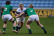 16th March 2018, Ricoh Arena, Coventry, England; Womens Six Nations Rugby, England Women versus Ireland Women; Marlie Packer of England is tackled by Cliodhna Moloney and Ciara Griffin of Ireland