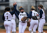 NWA Democrat-Gazette/CHARLIE KAIJO Bentonville West High School players react during a softball game, Thursday, March 13, 2019 at Bentonville West High School in Centerton.