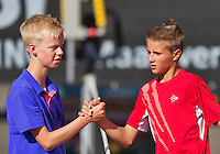 Netherlands, Rotterdam August 05, 2015, Tennis,  National Junior Championships, NJK, TV Victoria, Kaj van den Heuvel is congratulated by Bram Poel (L)<br /> Photo: Tennisimages/Henk Koster