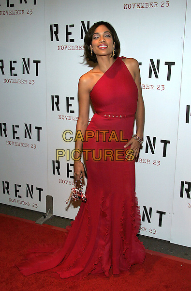"ROSARIO DAWSON.NY Premiere of ""Rent"" at Ziegfeld Theatre, New York, NY..November 17th, 2005.Photo: Jackson Lee/Admedia/Capital Pictures.Ref: JL/ADM.full length one shoulder red dress ruffles.www.capitalpictures.com.sales@capitalpictures.com.© Capital Pictures."