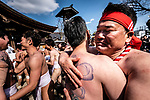 FEBRUARY 17, 2019 - Men hug each other in celebration during the Konomiya Hadaka Matsuri, or Naked Festival, in Inazawa City, Aichi Prefecture, Japan.<br /> <br /> The festival, which dates to A.D. 767, is held annually to ward off bad luck. (Photo by Ben Weller/AFLO) (JAPAN) [UHU]