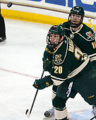 Brendan Bradley (UVM - 20), Derek Lodermeier (UVM - 16) - The Boston College Eagles defeated the University of Vermont Catamounts 7-4 on Saturday, March 11, 2017, at Kelley Rink to sweep their Hockey East quarterfinal series.The Boston College Eagles defeated the University of Vermont Catamounts 7-4 on Saturday, March 11, 2017, at Kelley Rink to sweep their Hockey East quarterfinal series.