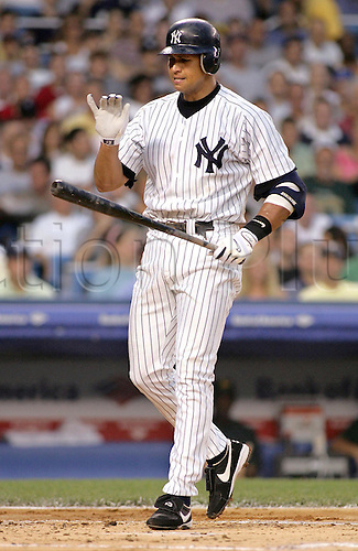 04 August 2004: Yankees Alex Rodriguez reacts after stiking out to end the first inning at Yankee Stadium. Photo: Jeff Zelevansky/Icon/actionplus...Baseball Major League MLB National League