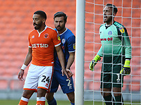 Blackpool's Liam Feeney closely marked by Rochdale's Joe Rafferty and goalkeeper Josh Lillis as they jostle for position for a corner kick<br /> <br /> Photographer Stephen White/CameraSport<br /> <br /> The EFL Sky Bet League One - Blackpool v Rochdale - Saturday 6th October 2018 - Bloomfield Road - Blackpool<br /> <br /> World Copyright © 2018 CameraSport. All rights reserved. 43 Linden Ave. Countesthorpe. Leicester. England. LE8 5PG - Tel: +44 (0) 116 277 4147 - admin@camerasport.com - www.camerasport.com