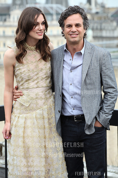 Keira Knightley and Mark Ruffalo attend a photocall for 'Begin Again', London. 02/07/2014 Picture by: Alexandra Glen / Featureflash