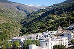River Poqueira Gorge and village of Pampaneira, High Alpujarras, Sierra Nevada, Granada province, Spain