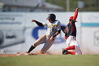 Batavia Muckdogs shortstop Marcos Rivera (8) can not come up with the throw as Deon Stafford (57) slides safely into second base during a game against the West Virginia Black Bears on June 25, 2017 at Dwyer Stadium in Batavia, New York.  Batavia defeated West Virginia 4-1 in nine innings of a scheduled seven inning game.  (Mike Janes/Four Seam Images)
