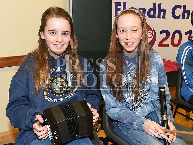 Sarah Maxwell and Meadhbh Campbell at the Comhaltas Céilí in Ballsgrove Community Centre. Photo:Colin Bell/pressphotos.ie